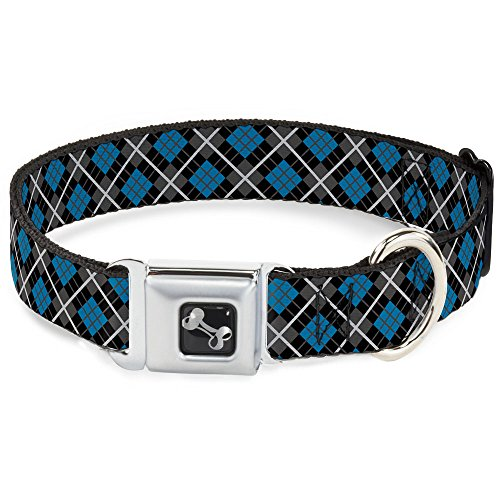 Argyle Dc - Buckle-Down Seatbelt Buckle Dog Collar - Argyle Black/Gray/Turquoise - 1.5