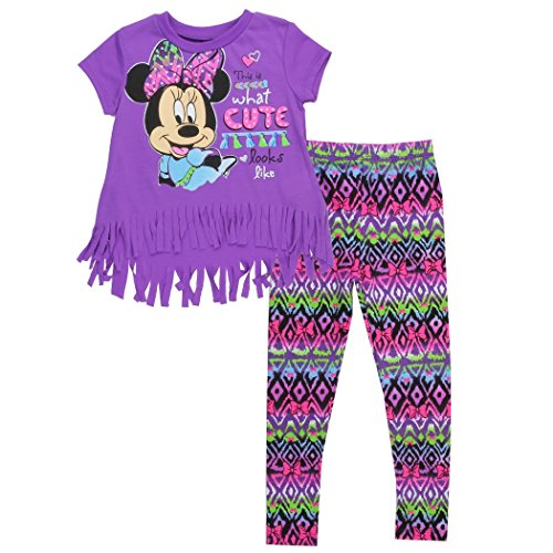 Disney Minnie What Cute Looks Like Toddlers Fringed Shirt & Legging Set (2T, Purple) (Minnie Outfit)