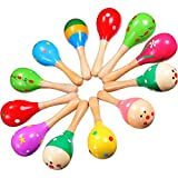 Hestya 12 Pieces Colorful Wooden Maracas Fiesta Maracas Vintage Maracas Hand Decorated Wood Maracas for Party Favors Musical Instruments