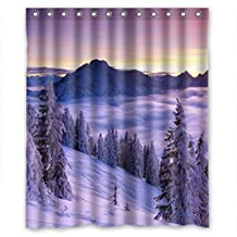 "Beautiful purple snow mountain landscape home furnishing Shower Curtain 60""(w)x72""(h)"
