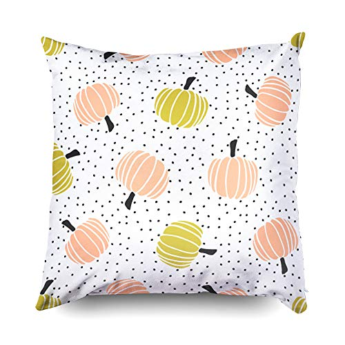 (Shorping Zippered Pillow Covers Pillowcases 20X20 Inch Halloween Pumpkins and dots on Cream Background Decorative Throw Pillow Cover,Pillow Cases Cushion Cover for Home Sofa)