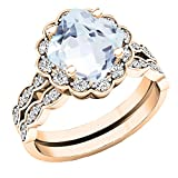Dazzlingrock Collection 18K 7 MM Cushion Aquamarine & Round Diamond Ladies Halo Engagement Ring Set, Rose Gold, Size 5.5