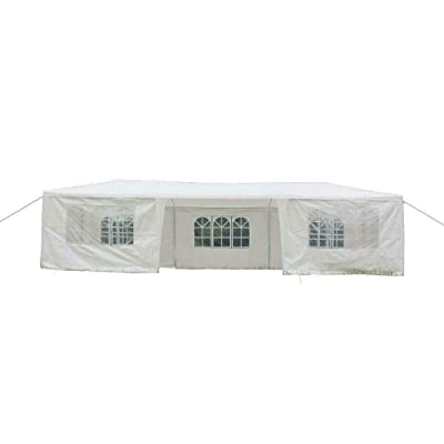 Cypress Shop Outdoor Gazebo Canopy Tent 10x30 feet Pavilion Marquee Sun Shade Shelter for Lawn Yard Garden Patio Wedding Party Cater Park BBQ Events White (7 sidewalls) : Garden & Outdoor