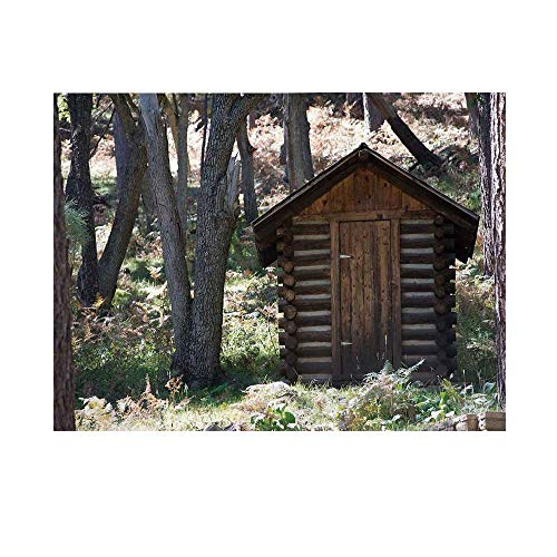 Outhouses Towel Hand - Outhouse Photography Background,Wooden Primitive Life Barn Shed in Spring Forest Leaves Lumberjack Photo Backdrop for Studio,8x7ft