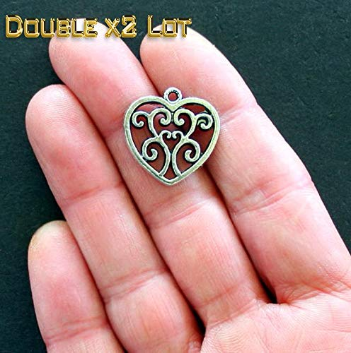 Scroll Pendant Setting - Double x2 LOT of 8 Heart Charms with Lovely Classic Scroll Design Vintage Crafting Pendant Jewelry Making Supplies - DIY for Necklace Bracelet Accessories by CharmingSS