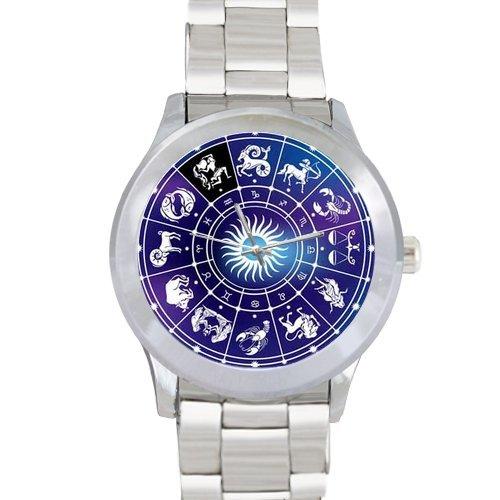 Zodiac impresión de los hombres de acero inoxidable reloj de pulsera: Amazon.es: Relojes