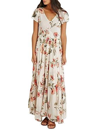 08c6e77893d CNJFJ Womens Floral Maxi Dress Elegant Short Sleeve Chiffon Loose Fit V  Neck Pleated Dress at Amazon Women s Clothing store