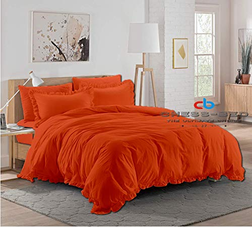 Chess Bed 100% Natural Egyptian Cotton 600 Thread Count Hypoallergenic 98x120 inch Over Size Super King Orange Solid Edge Ruffle Duvet Cover with Button Closure & 2pcs Pillow Case Set