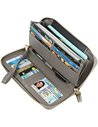 RFID Blocking Wax Real Leather Zip Around Wallet Clutch Large Travel Purse for Women