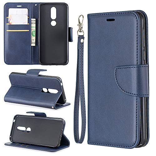 NCTech Flip Cover Folio Case fits Nokia 7.1 Wallet Case Slim Protective Top Grain Leather Case 225 Slots Card Holder Including Inner Pockets Stand Feature Wristlet for Nokia - 7.1 Grains