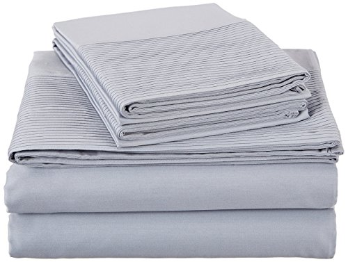 Pinzon 400 Thread Count Egyptian Cotton Sateen Pleated Hem Sheet Set King Cloud