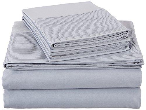 Pinzon 400-Thread-Count Egyptian Cotton Sateen Pleated Hem Sheet Set - Cal King, Dusty Blue
