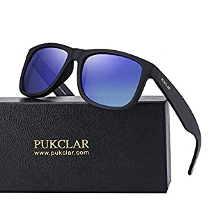 PUKCLAR Retro Polarized Wayfarer Sunglasses for Men Women Outdoor UV Protection Ultra Light pk1004