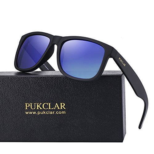 PUKCLAR Retro Polarized Wayfarer Sunglasses for Men Women Outdoor UV Protection Ultra Light pk1004 by PUKCLAR