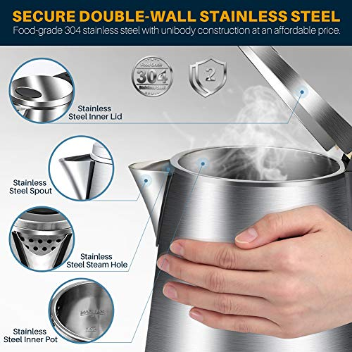 Secura Double Wall Stainless Steel Electric Kettle Water Heater for Tea Coffee w/Auto Shut-Off and Boil-Dry Protection, 1.5L/1.6Qt