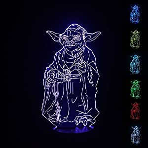 NIEBC Star Wars Stormtrooper 3D 7-Color Gradual Changing LED Touch Switch Visualization Illusion Atmosphere Light Desklamp Nightlight (Master Yoda)