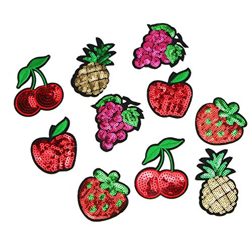 Monrocco 10 PCS Sequin Fruit Patch Embroidered Repair Motif Patches Iron On Sew-on DIY Applique Craft for Jeans Clothing ()
