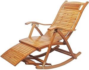 MO&SU Folding Rocking Chair, Portable 170Degree Adjustment Patio Chaise Lounger Recliner Recliner Garden Chair-B