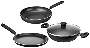 Amazon Brand Solimo Non Stick 3 Piece Kitchen Set Induction And Gas Compatible