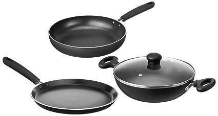 55ebf39891da Image Unavailable. Image not available for. Colour: Amazon Brand - Solimo  Non-Stick 3-Piece Kitchen Set ...
