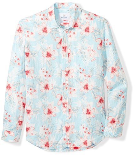 28 Palms Men's Relaxed-Fit Long-Sleeve 100% Linen Reverse Print Shirt, Washed Blue Floral, Small