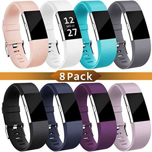 Maledan Replacement Bands Compatible for Fitbit Charge 2, Classic Accessories Sport Band Wristbands for Women Men, 8-Pack