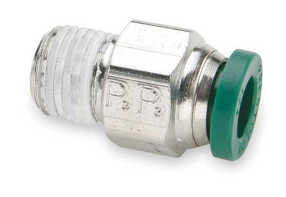 Parker Hannifin W68PLP-4-6 Prestolok PLP Nickel Plated Brass Male Connector Push-to-Connect Fitting, 1/4' Push-to-Connect Tube x 3/8' Male NPTF