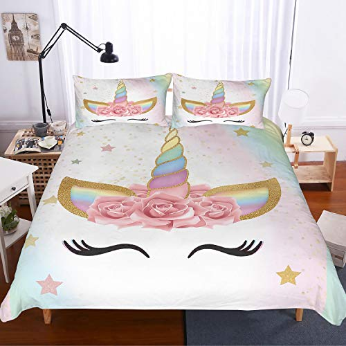 APJJQ Unicorn Duvet Cover Set Twin Size,Floral Feather Eyelashes Unicorn Head with Pink/Blue/Gold Stars Background White 2 Piece with 1 Pillow Sham Kids Bedding Set for Boys,Girls and Teens