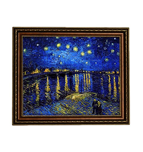 Eliteart - Starry Night Over The Rhone by Vincent Van Gogh Giclee Art Canvas Prints- Framed Size:27 3/5
