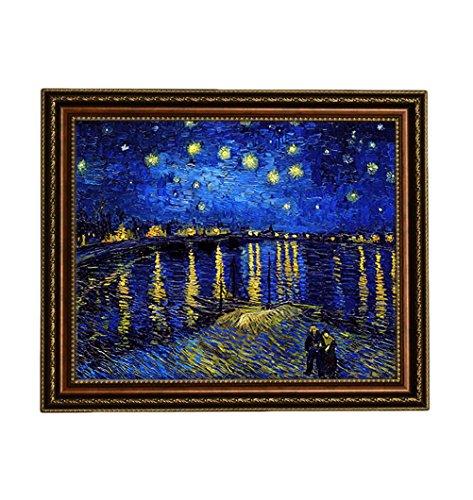 Rhone Framed Art (Eliteart - Starry Night Over The Rhone By Vincent Van Gogh Giclee Art Canvas Prints- Framed Size:27 3/5