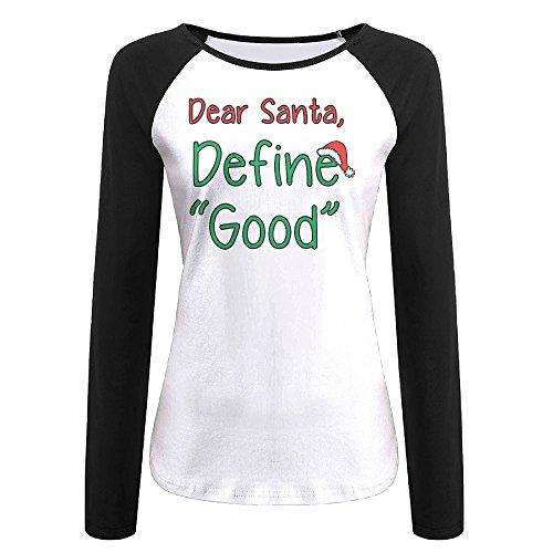 Women's Dear Santa Define Good Long Sleeve Screw Neck Athletic Baseball Tee Raglan Tee Shirts Black US Size XXL
