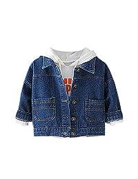 Balai Children Autumn Solid Color Wear Denim Tops Bottoming Long-Sleeved Lapel Jacket