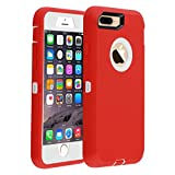 iPhone 7 Plus/8 Plus Case,Heavy Duty Defender Armor 3 in 1 Built-in Screen Protector Rugged Cover Dust-Proof Shockproof Drop-Proof Scratch-Resistant Shell for Apple iPhone 7+/8+ 5.5inch,Red