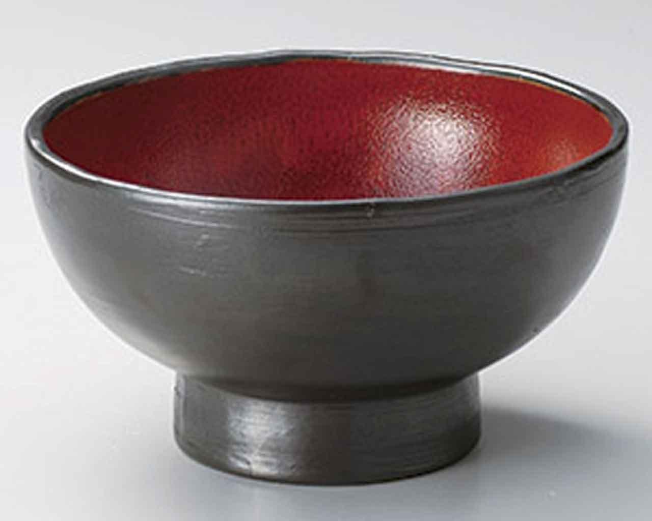 ジャパネスク 高台 9cm どんぶり5点セット 黒 陶器   B00RQ8V8S2