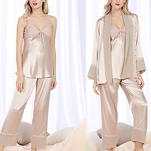 Zhuhaitf Premium Ladies Pyjamas Set Satin&Chiffon Sleepwear Nightwear Camel