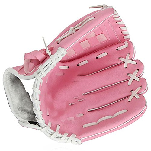 EDTara Baseball Gloves for Adult Youth Kids Soft Thicken Durable PU Leather Infield Catchers Pink 1PCS