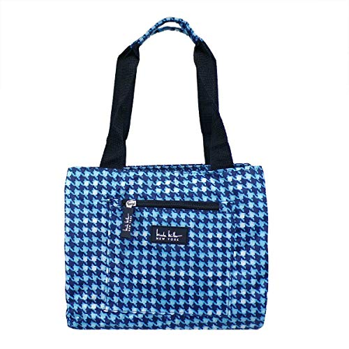 Nicole Miller of New York Insulated Waterproof Lunch Box Cooler Bag - 11 Lunch Tote (Blue Houndstooth