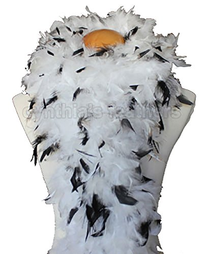 Cynthia's Feathers 80g Chandelle Feather Boa (White/Black tips) for $<!--$9.39-->