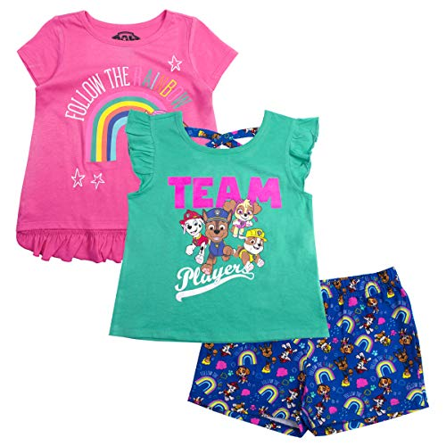 Paw Patrol Little Girls' Toddler Three-Piece Short Set, Fuchsia, 3T]()