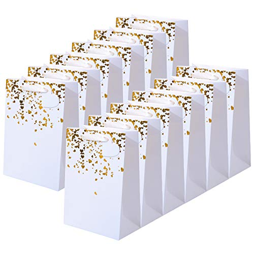 Coobey 12 Pack Bronzing Gold Paper Bags Gift Birthday Bag Bride Kraft Bag Hen Party Bags with Heart Tag for Weddings, Birthday Celebrations (White with Bronzing Gold Hearts, 15 x 8 x 21cm)