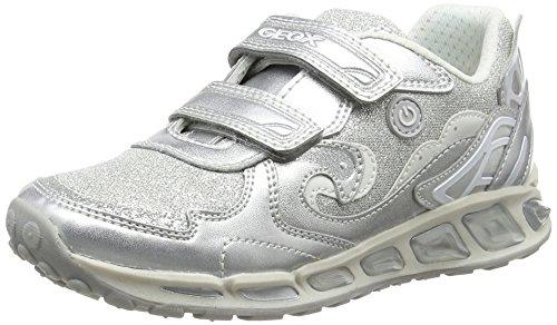 Geox J Shuttle B, Zapatillas Para Niñas Plateado (Silver/whitec0434)