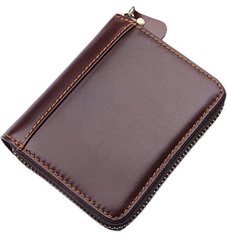 Men's RFID Blocking Full Grain Leather Secure Credit Card Holder Zip Around Wallet, Come with Free Keychain and Gift Box, Chocolate, b1w008ch ()