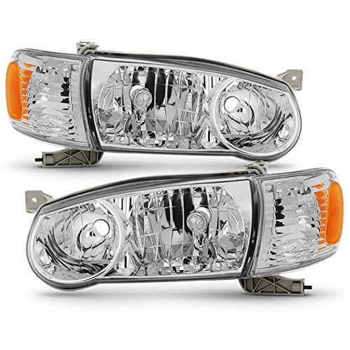 For 2001-2002 Toyota Corolla E110 Chrome Clear Headlights Front Lamps Direct Replacement Left + Right