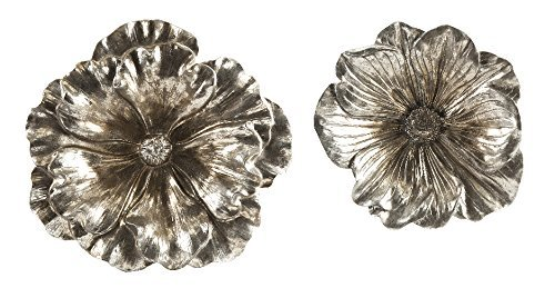 IMAX 53058-2 Natalia Stick Silver Flowers, Set of 2 (Gilt Mirror Silver)