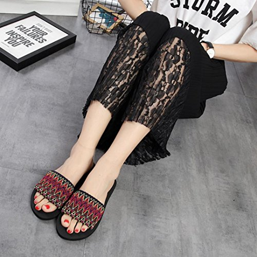 Jamicy® Damen Hausschuhe, Frauen Mädchen Nationalen Stil Sommer Indoor Outdoor Casual Flache Schuhe Rot