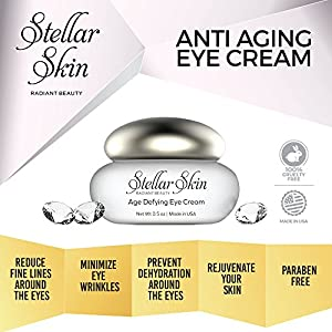 Eye Cream with Hyaluronic Acid, Anti Aging Moisturizer and Wrinkle Creams for Fine Lines & Wrinkles Around Eyes, Best Eye Gel Treatment for Under Eye Dark Circles and Bags, Skin Care from Stellar Skin