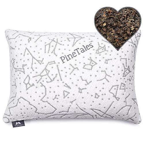 "PineTales, Premium Organic Buckwheat Pillow with Washable Super Soft & Skin Friendly Designer Bamboo Pillowcase, Japanese Size (14"" x 20"")"