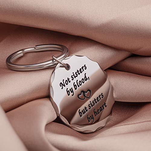 Best Friend Gifts Sister Keychain for Women Girls BFF Gift Not Sisters by Blood But Sisters by Heart Friendship Birthday Graduation Wedding Key Ring Pendant Charm