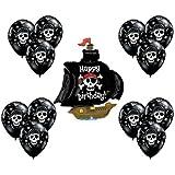 Black Pirate Ship Boat Mate Happy Birthday Party Supply Mylar Balloon Latex Set