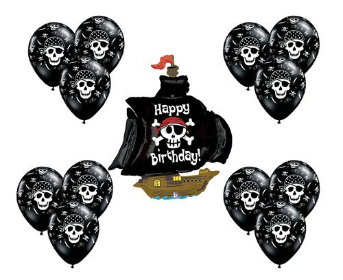 (Black Pirate Ship Boat Mate Happy Birthday Party Supply Mylar Balloon Latex Set)